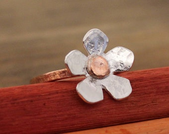 Silver and Copper Daisy Ring