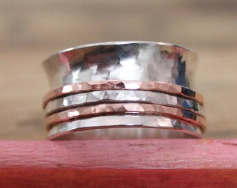 Hammered Silver and copper spinner ring