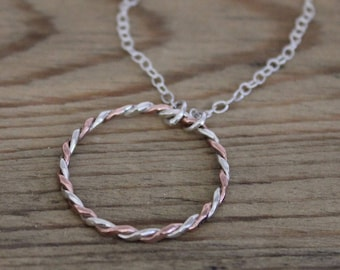 Copper and Silver Twist Circle Necklace