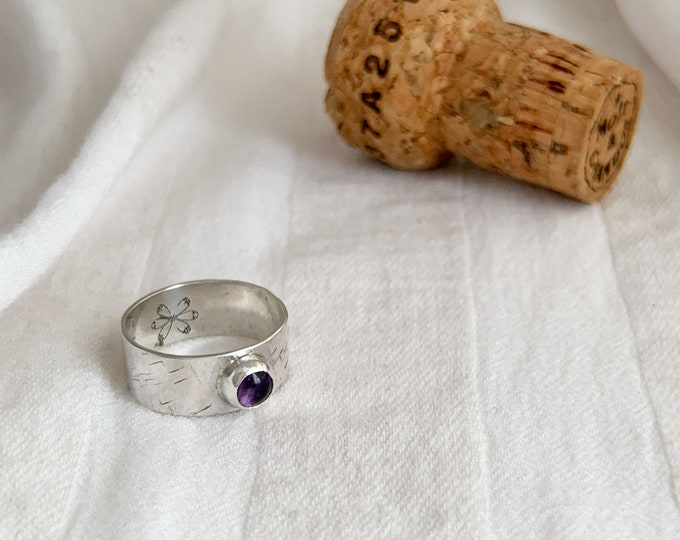 Amethyst Textured Silver Band Ring