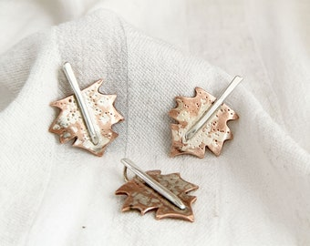 Copper and Silver Maple Leaf Pendant