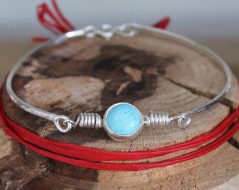 Turquoise Hammered Spring Bracelet
