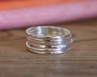 Silver Hammered Stacking Rings x 6