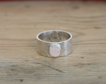 ROSE QUARTZ - SIZE Q  Thick Gemstone Stacking Ring