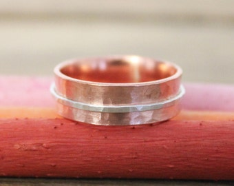Copper and Silver Spinner Ring