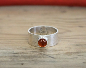 AMBER - SIZE K 1/2  Thick Gemstone Stacking Ring