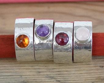 Thick Gemstone Stacking Ring