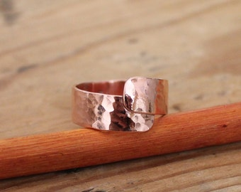 Hammered Handmade Copper Wrap Ring