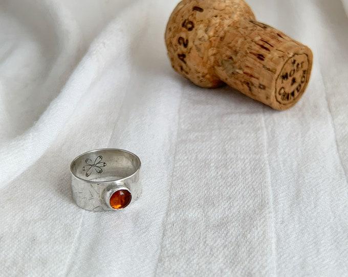 Amber Gemstone band ring