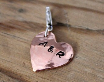 Personalised Copper Heart Charm
