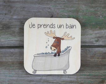 "Symbol ""I take a bath,"" wooden - Daily Routine - 3 to 5 years"