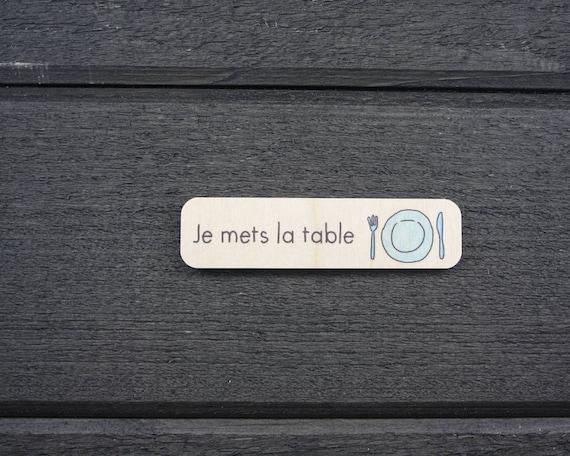 Pictogramme Tache Responsabilite En Bois Je Mets La Table Etsy