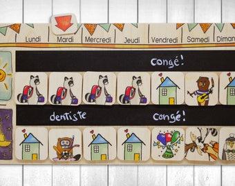 Semainier Raton's Week Weekly wooden calendar 3-7 years old