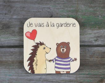 "Symbol ""I go to daycare"", wooden - Daily Routine - 3 to 5 years"