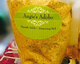 Angie's Adobo Gourmet Seasoning Rub made with Sea Salt***Ships in a 7 oz. resealable BPA free poly bag