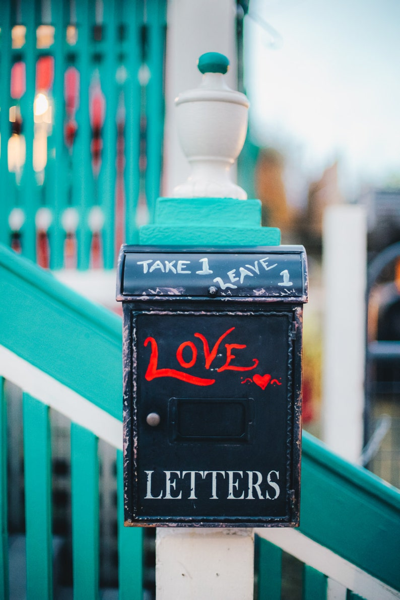 Turquoise, Love Letters, Portland, Love, Mail Box, Oregon, Quirky Details,  Red, Print, Travel, Photograph, Wall Art, Fine Art