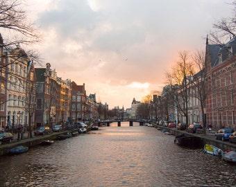 Amsterdam, Sunset, Canals, Dutch, Netherlands, Warm, Trees, Water, Print, Fine Art, Photograph, Wall Art