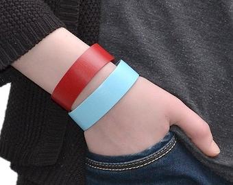 Leather Bracelet Sky Blue / Leather Band Bracelet, Leather Cuff Bracelet / Mens Bracelet, Leather Wristband, Leather Wrap Bracelet