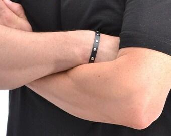 Black Leather Bracelet For Men / Leather Band Bracelet, Leather Wristband / Leather Wrap Bracelet, Mens Bracelet, Leather Cuff Bracelet