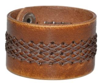 Wide Leather Bracelet Brown / Leather Band Bracelet, Leather Cuff Bracelet / Mens Bracelet, Leather Wristband, Leather Wrap Bracelet