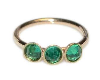 Emerald Nose Ring Hoop Solid Gold / Nose Hoop, Tragus Ring, Helix Ring / Cartilage Hoop Earring, Daith Ring, Rook Earring, Tragus Earring