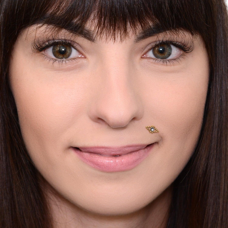 Cz Medusa Lip Ring Labret Jewelry Monroe Piercing Jewelry Lip Labret Jewelry Lip Ring 16g Surgical Stainless Steel Stud Earring