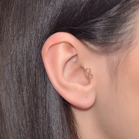 CZ Paved Infinity Cartilage Earring Cartilage Piercing Helix Earring Helix Piercing Tragus Earring Tragus Piercing 16g 6mm A34