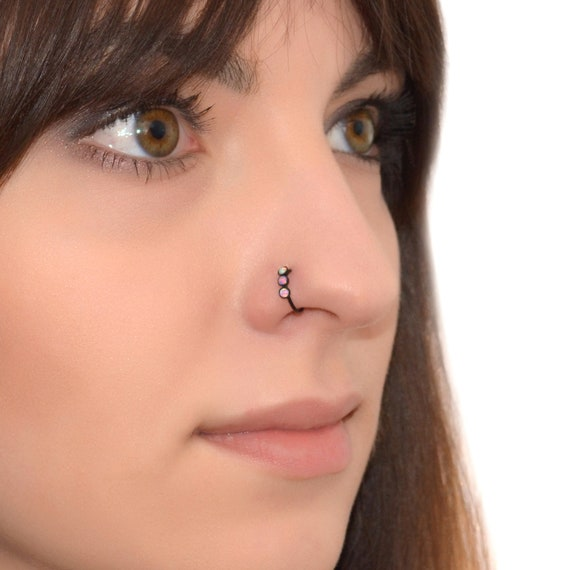 Hoeudjo 20G Opal Nose Rings Surgical Steel Nose Ring Studs Heart CZ Inlaid Piercing Jewelry for Women Men Girls 28 Pieces