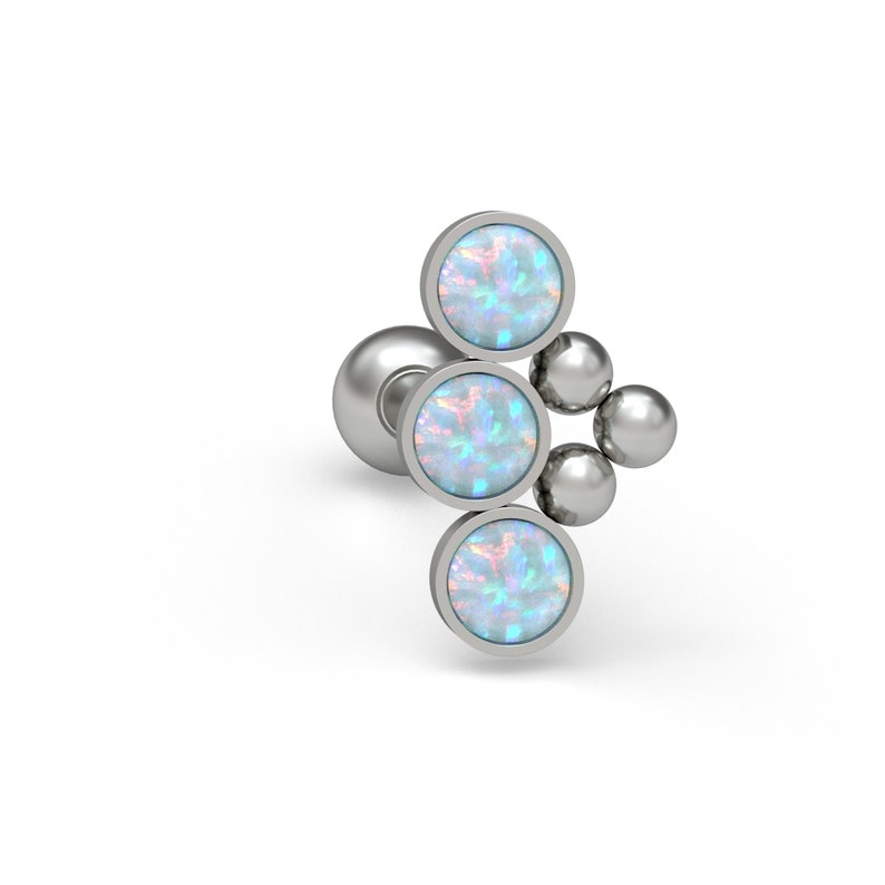 Titanium Cartilage Curved Stud Earring Implant Grade Curved Bar Piercing Opal Helix Earring Cartilage Piercing Helix Stud
