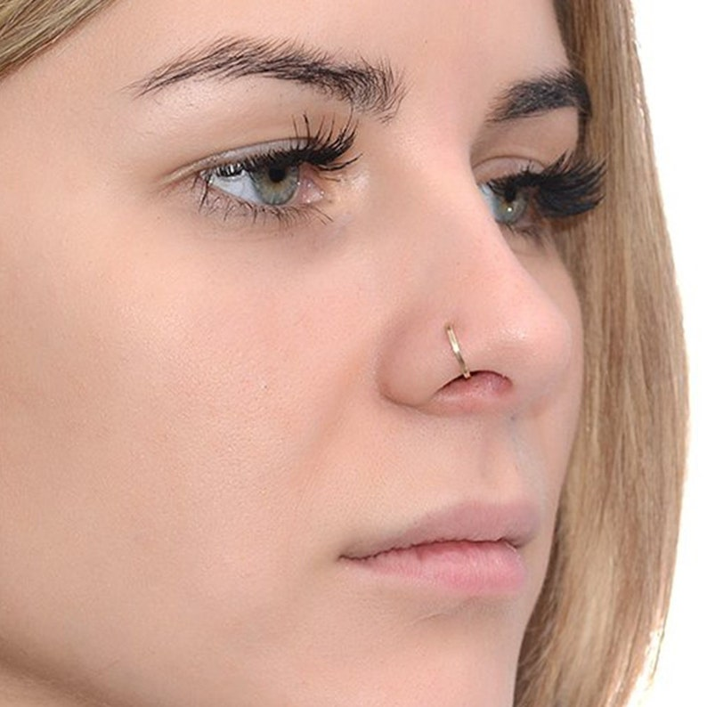 Tragus Earring Gold Square Nose Ring 22 gauge  Daith Earring Helix Ring  Cartilage Earring Nose Hoop Rook Earring