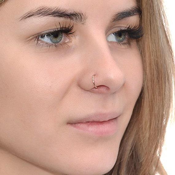 Twisted Gold Nose Ring 20 Gauge Cartilage Earring Septum Etsy