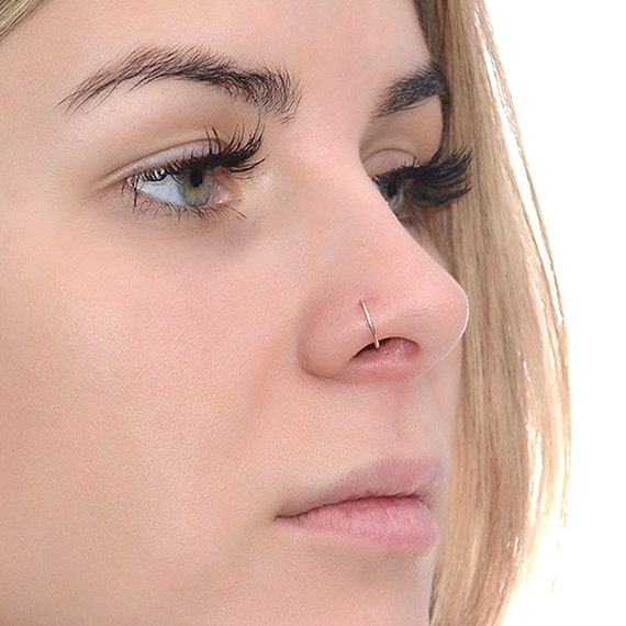 Gold Nose Ring Hoop 22g Nose Hoop Tragus Ring Helix Ring Etsy