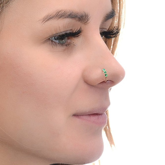Tragus Ring Helix Piercing 2mm Black Onyx NOSE RING  Gold Nose Hoop 20g Cartilage Earring Daith Piercing Rook Piercing