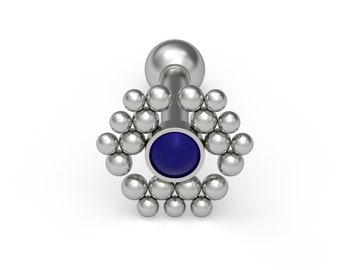 Lapis lazuli Cartilage Bar Titanium Tragus Piercing Jewelry Implant Grade Tragus Barbell Earring Conch Earring Conch Stud Helix Earring