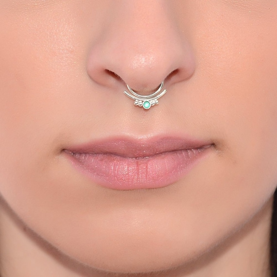 Silver Septum Ring With 2mm Emerald 18g Septum Piercing Etsy