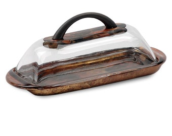 Butter Dish with Handle, Hand Painted Gold Copper Black for your Kitchen Dining and Serving Needs