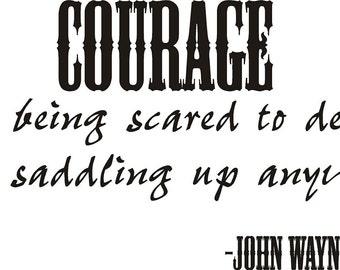 Decalgeek Courage John Wayne Quote Vinyl Wall Decal  sc 1 st  Etsy & John wayne decal | Etsy