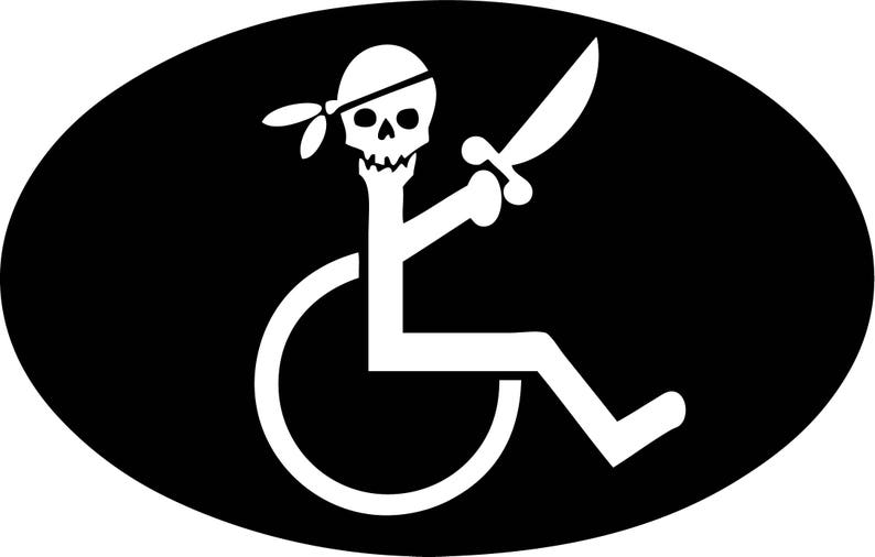 graphic relating to Printable Handicap Sign identify Handicap Pirate within just Wheelchair Printable wall artwork