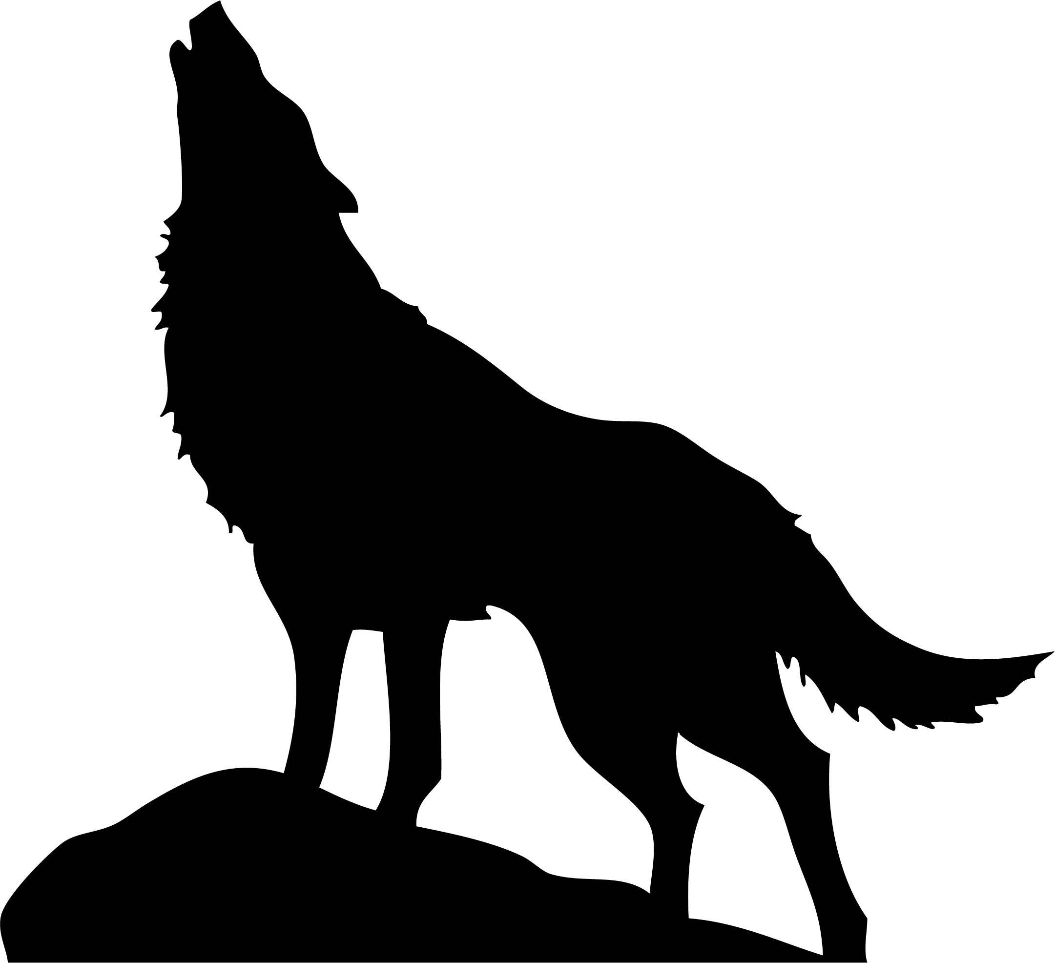 HUGE HOWLING WOLF Silhouette Printable Wall Art