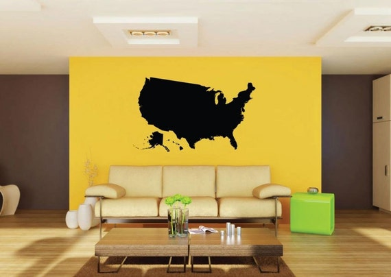 Colleges Schools Offices Picniva Black US State Map removable Vinyl Wall Decal Home Dicor for Homes Kids Rooms Nurseries High Schools