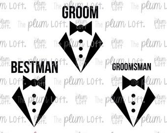 Groom Best Man GroomsMan - Tuxedo Wedding - SVG Cutting File for Cutting Machines - SVG, Eps, Png, & Jpg
