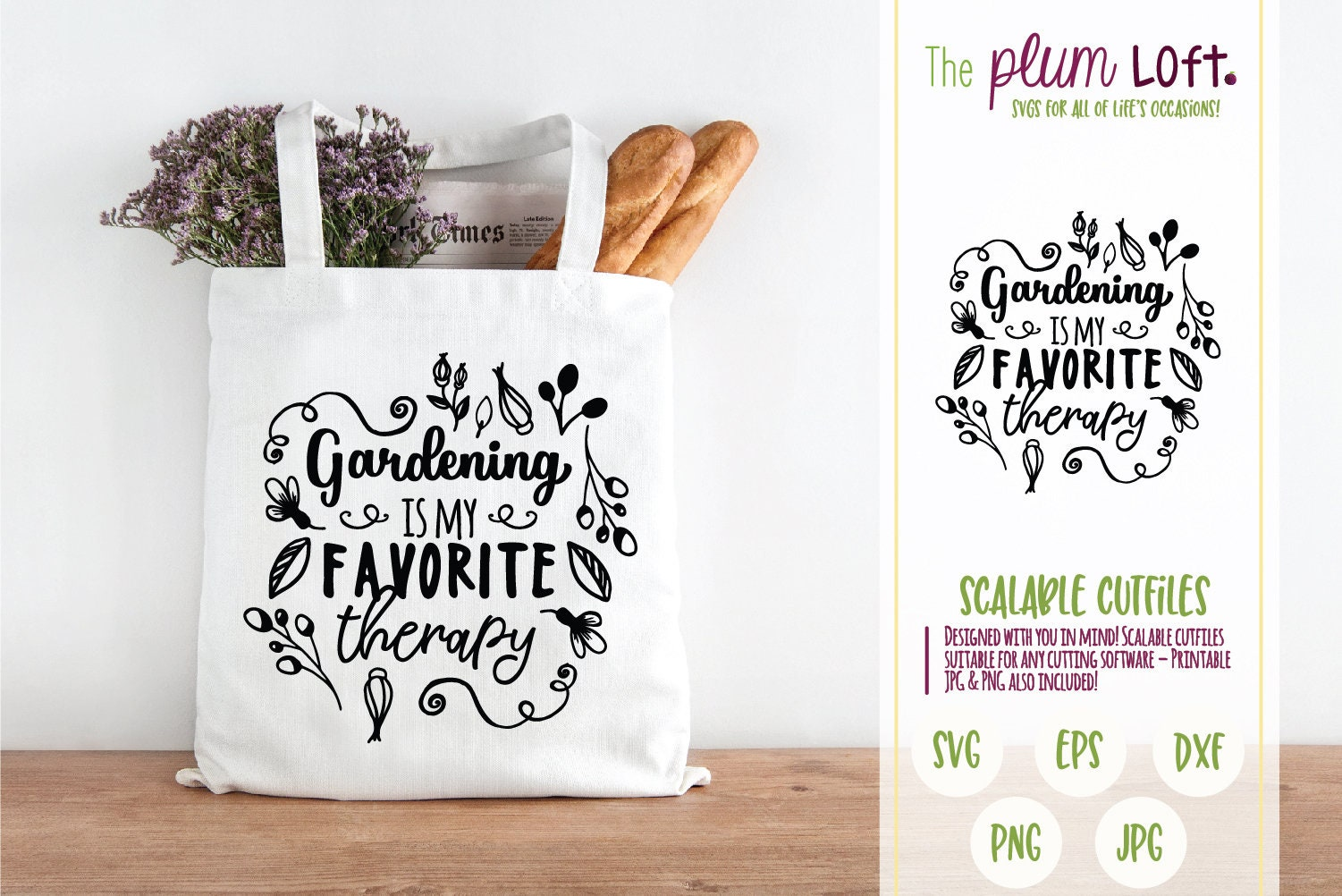 Gardening is my favorite therapy - Garden Flower Plant Design - SVG Cutting  File for Cutting Machines - SVG, Eps, Png, & Jpg
