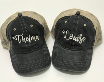 Embroidered Trucker Hats   Thelma and Louise Best Friend Hat   Funny Hats    Trucker Hat   Baseball Cap   BFF Hats   Mesh Hat 7c39289dccd7