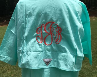 a9e2ac25cc Monogrammed PFG cover up/ monogrammed Columbia Fishing Shirt/ Short Sleeve  PFG Cover Up / Bridal Party Beach Cover Up
