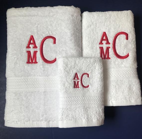 Monogrammed Bath Towels Personalized Bathroom Towels 3 Piece Personalized Towels Monogrammed Towel Set Embroidered Bath Towel Set