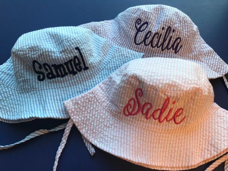 Monogram Seersucker Bucket Hats  Toddler Bucket Hats  Monogrammed Toddler SunHat