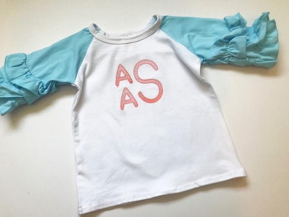 2d94b32fc22 Monogrammed Ruffle Icing Shirt   Monogram Ruffled Raglan