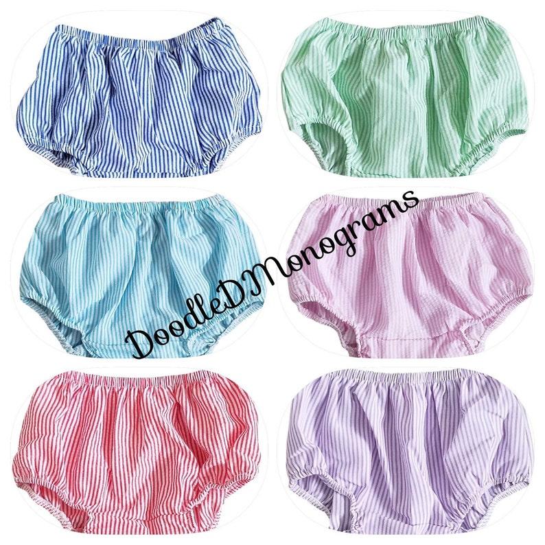 Monogram Seersucker Diaper Covers  unisex diaper cover  seersucker bloomers