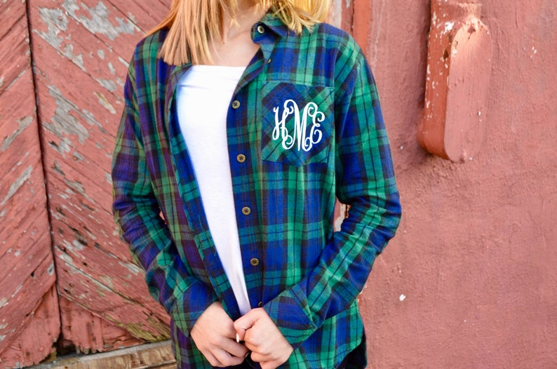 Monogrammed Flannel Shirts  Button down Flannel Shirts  Monogrammed Plaid Flannel Shirts  Unisex Flannel Shirts  Women/'s Tops and Tees