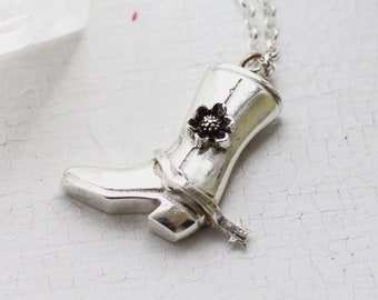 Cowboy Boot Pendant - Cowboy Boot Charm - Western Jewelry - Equestrian Necklace - Equestrian Jewelry - Cowboy Boots - Silver Pendant